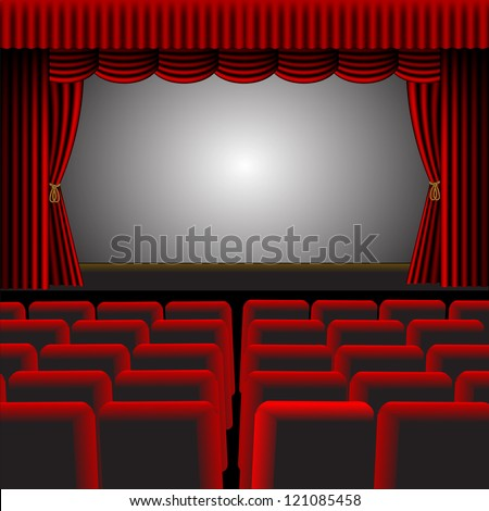 A vector illustration of a cinema or theatre with red upholstery and fittings, with a screen and room for text - stock photo