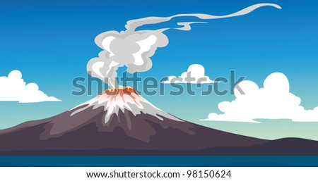 A Vector illustration of an erupting Volcano - stock photo