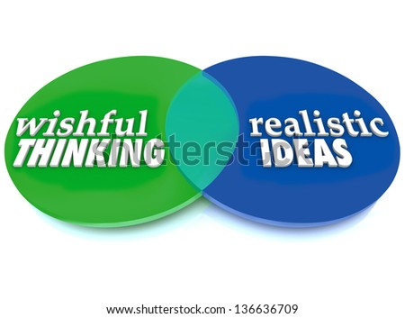 Venn diagram overlapping circles words wishful stock illustration a venn diagram of overlapping circles with the words wishful thinking and realistic ideas to illustrate ccuart Image collections