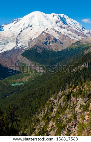 A vertical shot of Mt. Rainier in Washington - stock photo