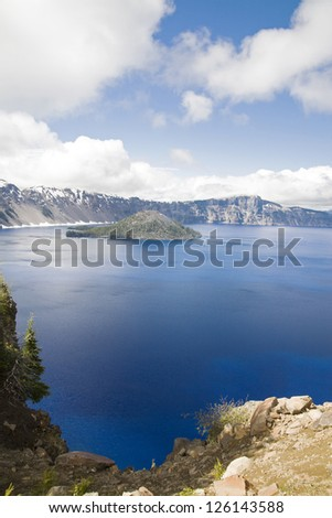 A vertical view of crater lake - stock photo