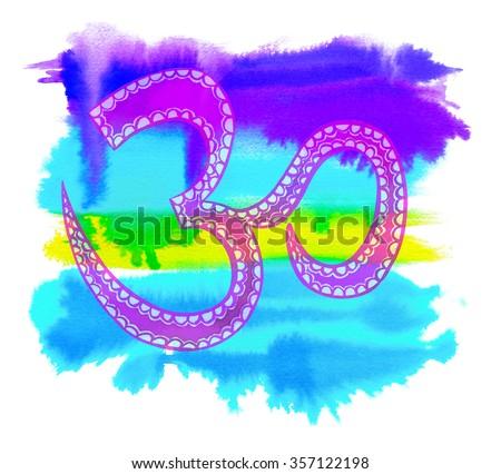 a very beautiful watercolor indian hindu om symbol, a ...