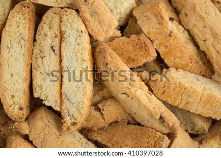 A very close view of almond nut biscotti. - stock photo