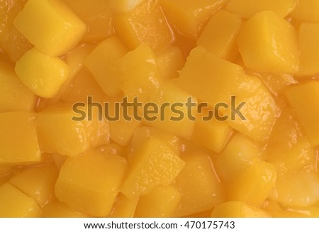 A very close view of diced mangoes.