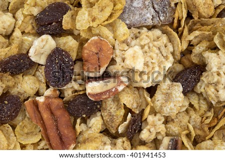 A very close view of pecans, raisins and dates breakfast cereal.