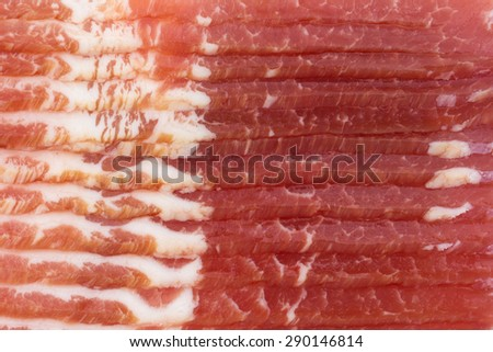 A very close view of smoked low sodium bacon. - stock photo
