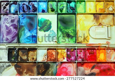 A very colorful and messy palette- a sign of lots of love - stock photo