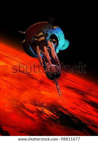 A very large spaceship is seen in space bathed in a red glow from a Mars like planet which it is orbiting around.