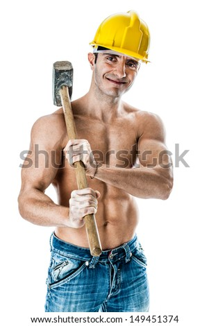 a very muscular and handsome manual worker with a sludgehammer and a yellow helmet isolated over white