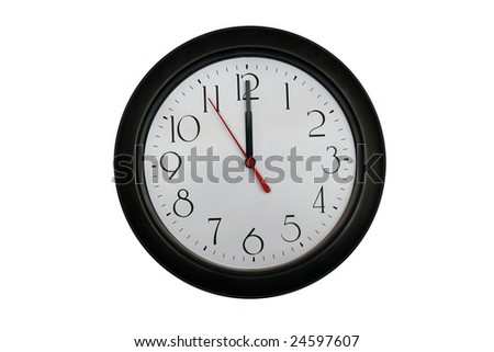 A very nice shot of a clock showing 12 O'clock - stock photo