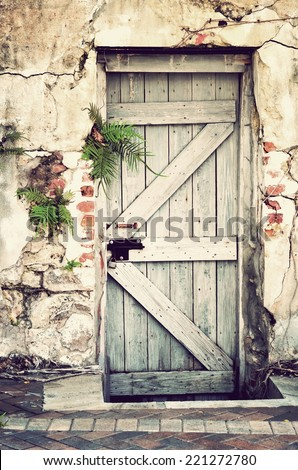 A very old doorway in a concrete and brick wall with retro grungy wooden door and fern plants with instagram type filter added for vintage look. - stock photo
