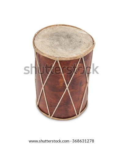 A very old wooden drum - stock photo
