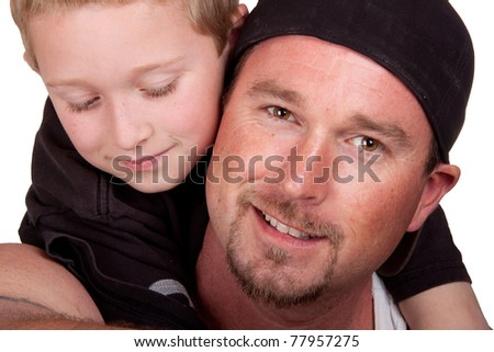 A very relaxing image of a father and his son. - stock photo