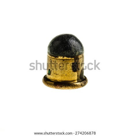 a very small caliber bullet isolated over a white background - stock photo