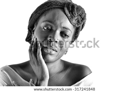A very upset african woman crying  - stock photo