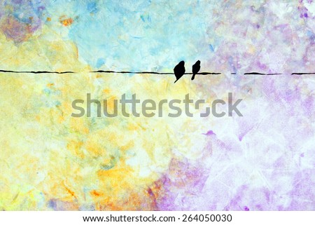 A vibrant painting of two birds on an electrical wire using acrylic on canvas. - stock photo