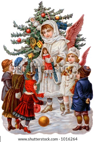 A Victorian illustration of Christmas angels giving gifts to children (circa 1890) - stock photo