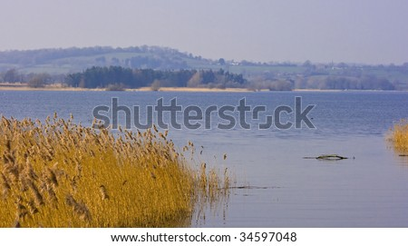 A view across Chew Valley Reservoir a lake in Somerset UK - stock photo