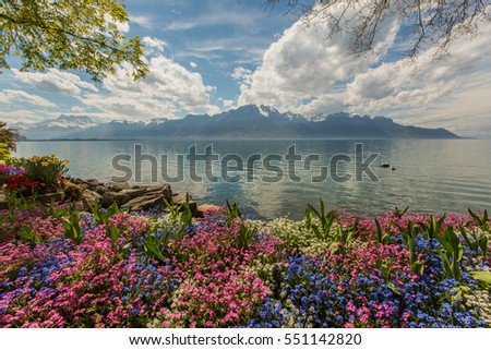 A view across Lake Geneva from Montreux