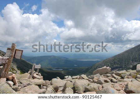 A view along the trails of Mount Katahdin in Baxter State Park, Maine, - stock photo