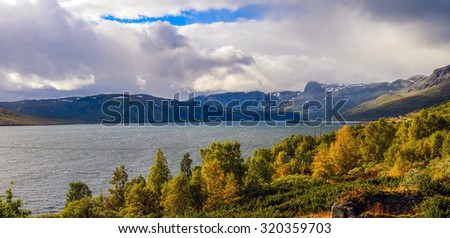A view at the mountains by Strandavatnet lake in Norway, Storestolen Fjellstugu