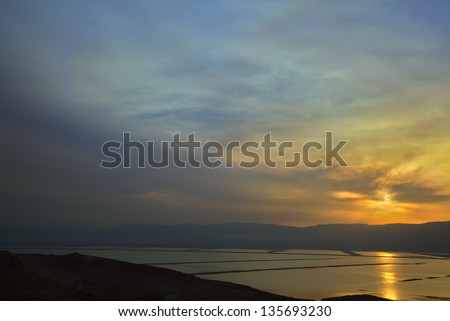 A view at the southern part of the Dead Sea from the mountains to its east, at the time of a magical sunrise. An HDR image.