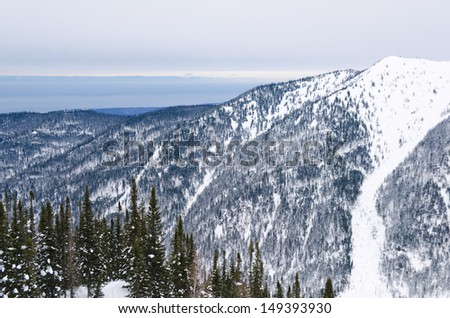a view at winter Baikal from mountains