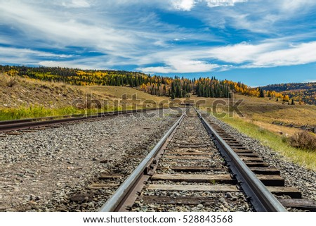 A view down narrow gauge railroad tracks located in the San Juan National Forest