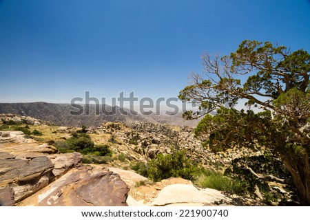 A view from a walk around Rummana Camp near Dana village, Jordan. - stock photo