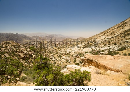A view from a walk around Rummana Camp near Dana village, Jordan. - stock photo