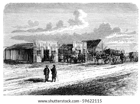 """A View from Doge City, Kansas, USA. Illustration originally published in Hesse-Wartegg's """"Nord Amerika"""", swedish edition published in 1880. The image is currently in public domain. - stock photo"""