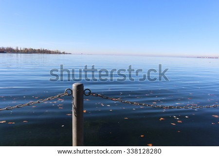 A view from Lake Constance (Bodensee), taken from Bregenz harbor, Austria. - stock photo