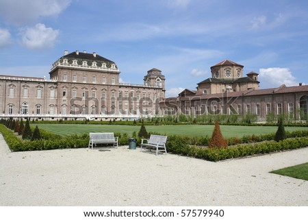 A View from the Gardens of Venaria Royal Palace (Turin, Piemonte Italy) - stock photo