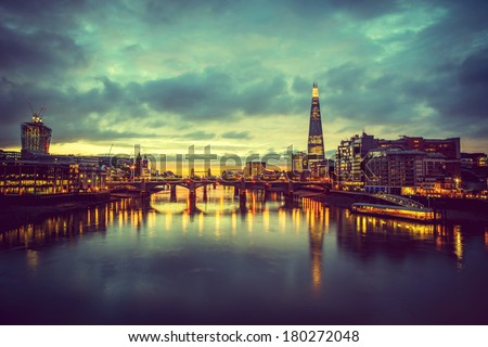 A view from the London skyline from the millennium bridge  - stock photo