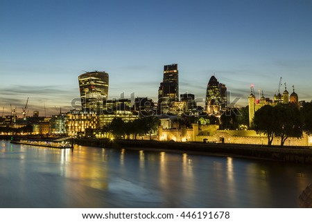 A view from the london skyline from the Tower Bridge. June 2015 - stock photo