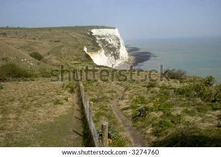 A view from the top of the white cliffs of Dover