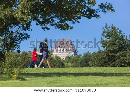 A View front the Plains of Abraham of the Chateau Frontenac, Quebec, Canada.  - stock photo