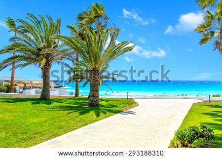 A view of a azzure water and entrance to the beach with palms - stock photo