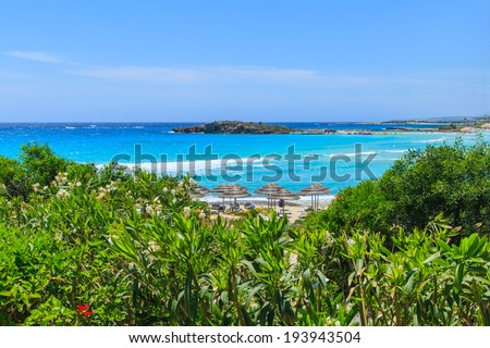 A view of a azzure water and Nissi beach in Aiya Napa, Cyprus - stock photo