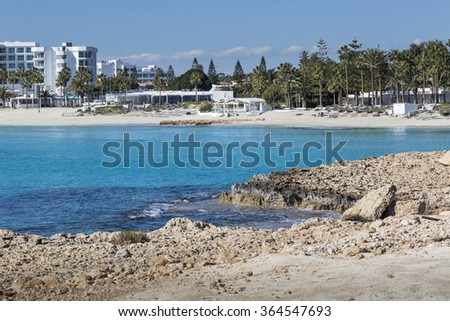 A view of a azzure water and Nissi beach in Aiya Napa, Cyprus