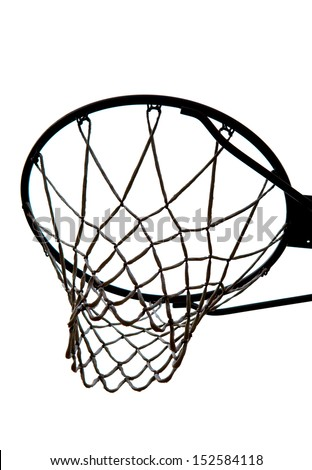 A view of a basketball hoop from below - stock photo