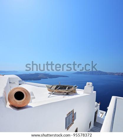 A view of a building on Santorini island, Greece - stock photo