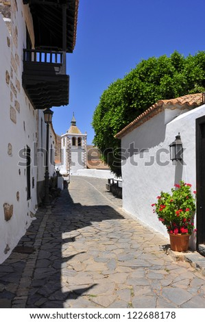 a view of a charming street in Betancuria in Fuerteventura, Canary Islands, Spain - stock photo