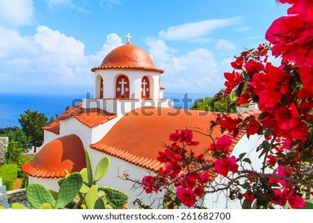 A view of a church on Greek island, Kalymnos, Greece - stock photo