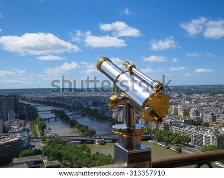 a view of a panoramic telescope - stock photo