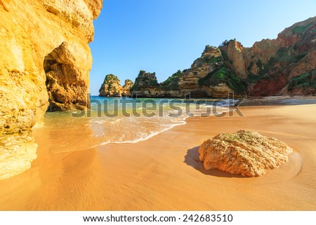 A view of a Praia do Camilo in Lagos, Algarve region, Portugal - stock photo