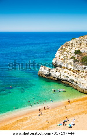 A view of a Praia in Portimao, Algarve region, Portugal - stock photo