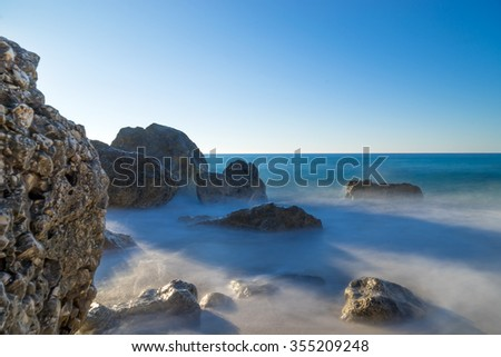 A view of a sandy beach Porto Katsiki on the island Lefkada, Greece - stock photo
