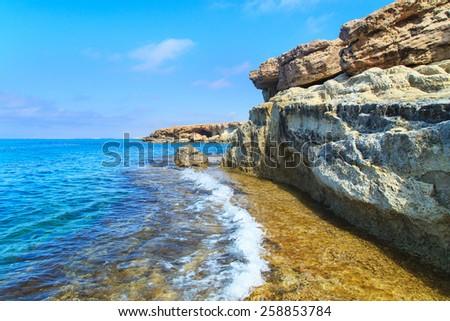 A view of a sea shore in Kavo Greko nenar Aiya Napa, Cyprus - stock photo