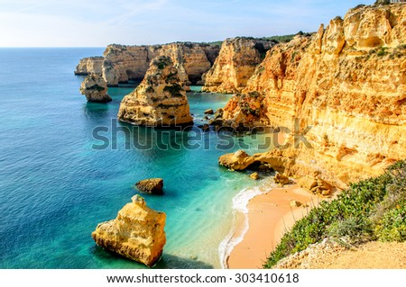 A view of a shore near Portimao, Algarve region, Portugal - stock photo